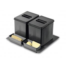 Система утилізації сміття 600 INOXA 97DA/602 ардезія (1 піддон, 2 відра 16л, 2 лотки)
