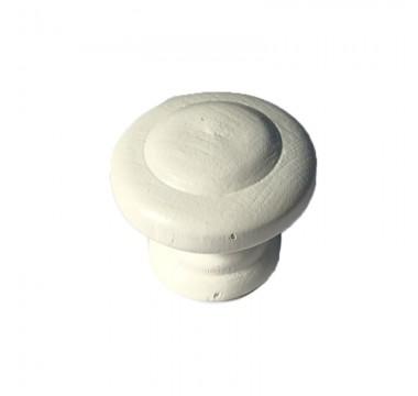 Ручка кнопка дерево белая маленькая №1 под саморез