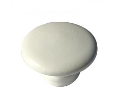 Ручка кнопка дерево белая средняя №2 под саморез