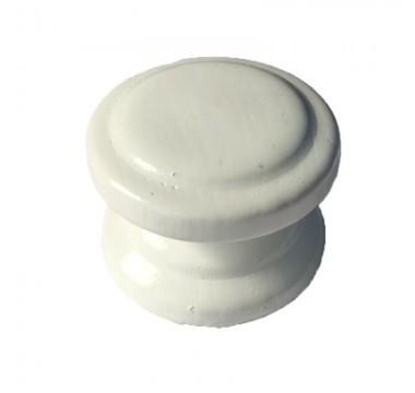 Ручка кнопка дерево белая большая №4 под саморез