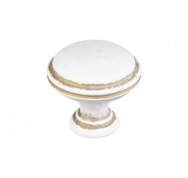 Ручка кнопка Gamet GR49-L44 белый матовый с золотой патиной