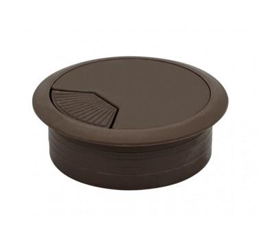 Заглушка кабельная пластиковая орех темный (коричневый)