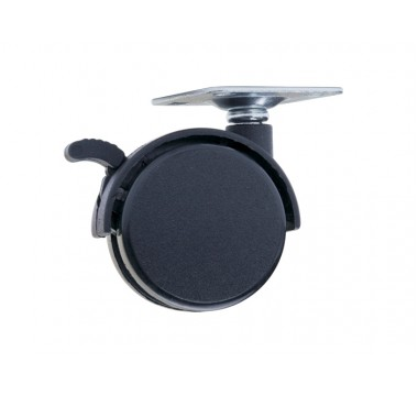 Ролик-колесо D40 на площадке с тормозом GIFF черный